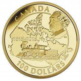 2015 Canada Gold 100 Dollar Coin - 200th Anniversary of the Birth of Sir John A. Macdonald
