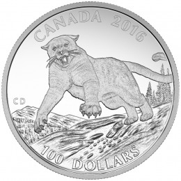 2016 Canadian $100 for $100 Cougar - 1 oz Fine Silver Coin