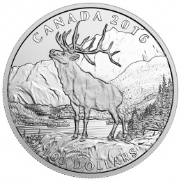 2016 Canadian $100 for $100 The Elk - 1 oz Fine Silver Coin
