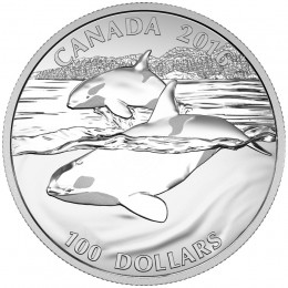 2016 Canadian $100 for $100 Orca Whale - 1 oz Fine Silver Coin