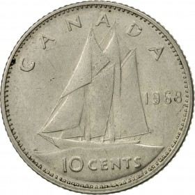 1968-O Canadian 10-Cent Schooner Dime Coin (Brilliant Uncirculated)