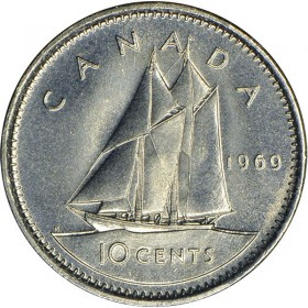1969 Canadian 10-Cent Schooner Dime Coin (Brilliant Uncirculated)