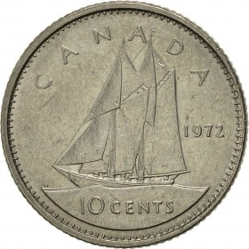 1972 Canadian 10-Cent Schooner Dime Coin (Brilliant Uncirculated)