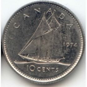 1974 Canadian 10-Cent Schooner Dime Coin (Brilliant Uncirculated)