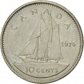 1976 Canadian 10-Cent Schooner Dime Coin (Brilliant Uncirculated)