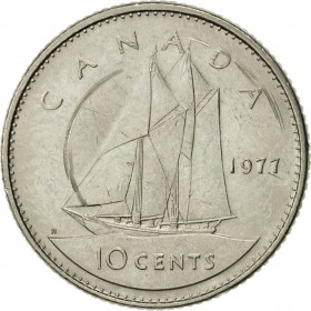 1977 Canadian 10-Cent Schooner Dime Coin (Brilliant Uncirculated)