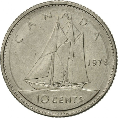 1978 Canadian 10-Cent Schooner Dime Coin (Brilliant Uncirculated)