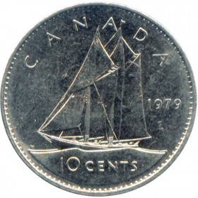 1979 Canadian 10-Cent Schooner Dime Coin (Brilliant Uncirculated)