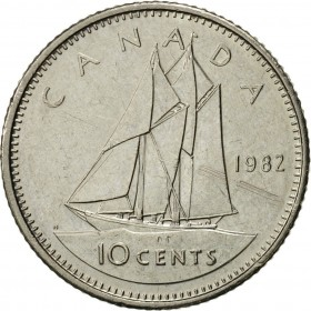 1982 Canadian 10-Cent Schooner Dime Coin (Brilliant Uncirculated)