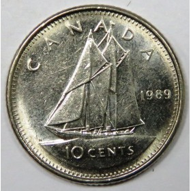 1989 Canadian 10-Cent Schooner Dime Coin (Brilliant Uncirculated)