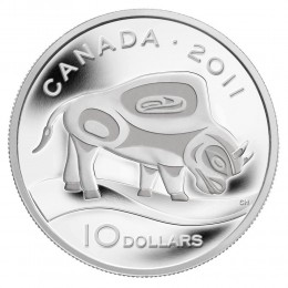 2011 Canada Fine Silver $10 Coin - Legendary Nature: Wood Bison