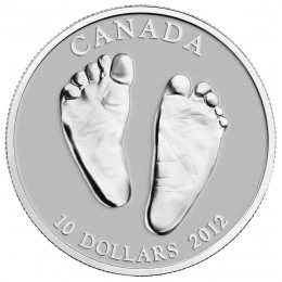 2012 Canadian $10 Welcome to the World, Baby Feet 1/2 oz Fine Silver Coin