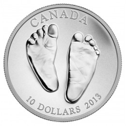 2013 Canadian $10 Welcome to the World, Baby Feet 1/2 oz Fine Silver Coin