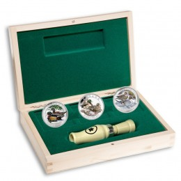 2013 Canada Fine Silver $10 Coin 3-Coin Set - Ducks of Canada with Display Case and Duck Caller