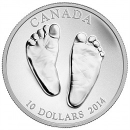 2014 Canadian $10 Welcome to the World, Baby Feet 1/2 oz Fine Silver Coin