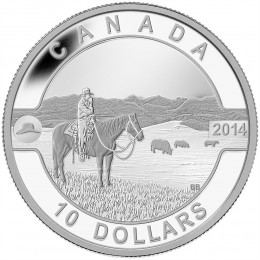 2014 Canada Fine Silver $10 Coin - O Canada Series: The Canadian Cowboy