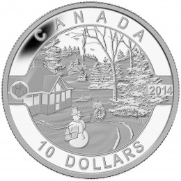 2014 Canada Fine Silver $10 Coin - O Canada Series: Canadian Holiday Scene