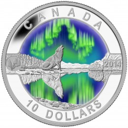 2014 Canada Fine Silver $10 Coin - O Canada Series: Northern Lights
