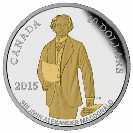 2015 Canada Fine Silver $10 Coin - 200th Anniversary of the Birth of Sir John A. Macdonald