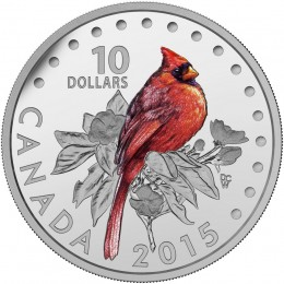 2015 Canadian $10 Colourful Songbirds of Canada: The Northern Cardinal - 1/2 oz Fine Silver Coloured Coin