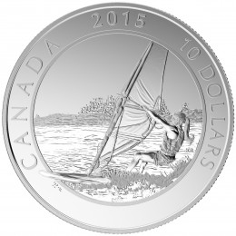2015 Canadian $10 Adventure Canada: Windsurfing - 1/2 oz Fine Silver Coin
