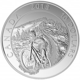 2015 Canadian $10 Adventure Canada: Mountain Biking - 1/2 oz Fine Silver Coin