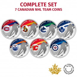 2015 Canada Fine Silver 10 Dollar Coin Set - Complete Seven Piece NHL Set