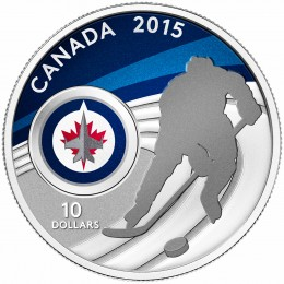 2015 Canadian $10 Canadian Hockey: Winnipeg Jets - 1/2 oz Fine Silver Coin