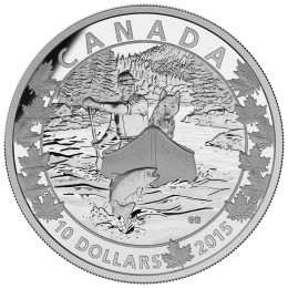 2015 Canadian $10 Canoe Across Canada: Splendid Surroundings - 1/2 oz Fine Silver Coin