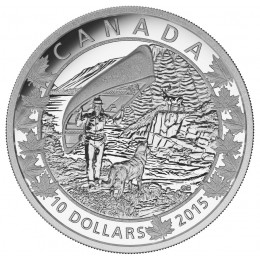 2015 Canadian $10 Canoe Across Canada: Wondrous West - 1/2 oz Fine Silver Coin