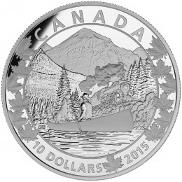 2015 Canadian $10 Canoe Across Canada: Magnificent Mountains - 1/2 oz Fine Silver Coin