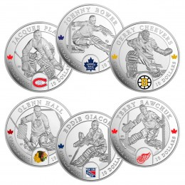 2015 Canada Fine Silver 10 Dollar Coin Set - Complete Six Piece NHL Goalies Set