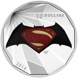 2016 Canadian $10 Batman v Superman: Dawn of Justice™ - Logo - 1/2 oz Fine Silver Coin