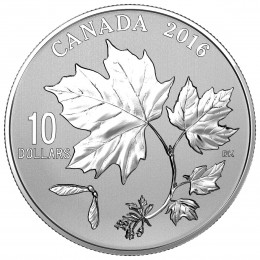 2016 Canada Fine Silver $10 Coin - Canadian Maple Leaves