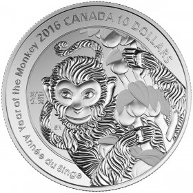 2016 Canadian $10 Year of the Monkey - 1/2 oz Fine Silver Coin
