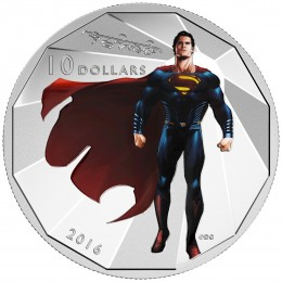 2016 Canadian $10 Batman v Superman: Dawn of Justice™ - SUPERMAN™ - 1/2 oz Fine Silver Coin