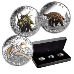 2016 Canada Fine Silver $10 3-Coin Subscription Set - Day of the Dinosaurs (Coloured)