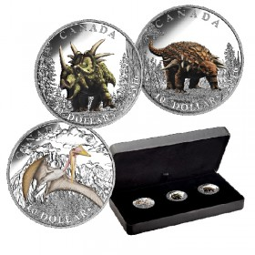 2016 Canadian $10 Day of the Dinosaurs - Fine Silver 3-Coin Set