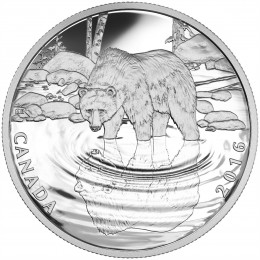 2016 Canadian $10 Reflections of Wildlife: Grizzly Bear - 1/2 oz Fine Silver Coin