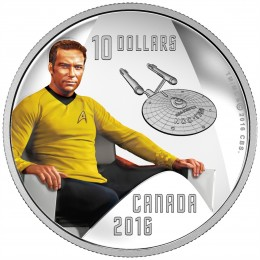 2016 Canadian $10 Star Trek™ Crew: Captain Kirk 1/2 oz Fine Silver Coin