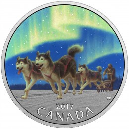 2017 Canadian $10 Celebrating Canada's 150th: Dog Sledding Under the Northern Lights - 1/2 oz Fine Silver Coin