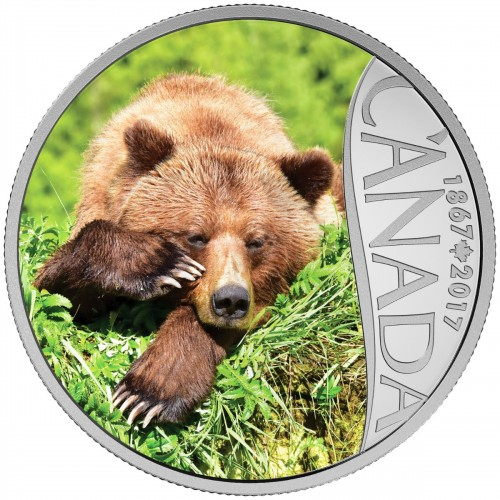 2017 Canadian $10 Celebrating Canada's 150th: Grizzly Bear - 1/2 oz Fine Silver Coin-no outer box
