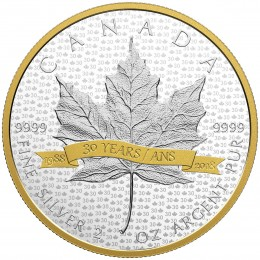 2018 (1988-) Canadian $10 Silver Maple Leaf Tribute to 30 Years - 2 oz Fine Silver Coin