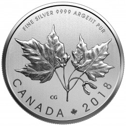 2018 Canadian $10 Maple Leaves 1/2 oz Fine Silver Coin