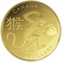 2016 Canada 18-karat Gold $150 Coin - Lunar Year of the Monkey