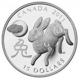 2011 Canada Fine Silver $15 Coin - Year of the Rabbit