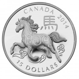 2014 Canadian $15 Year of the Horse - 1 oz Fine Silver Coin