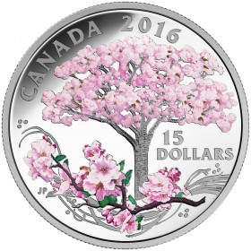 2016 Canadian $15 Celebration of Spring: Cherry Blossoms Fine Silver Coloured Coin