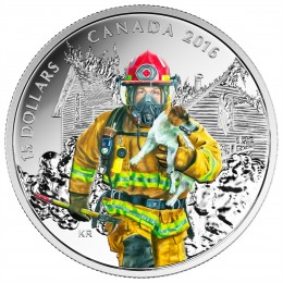 2016 Canada Fine Silver $15 Coin - National Heroes: Firefighter