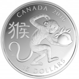2016 Canada Fine Silver $15 Coin - Year of the Monkey